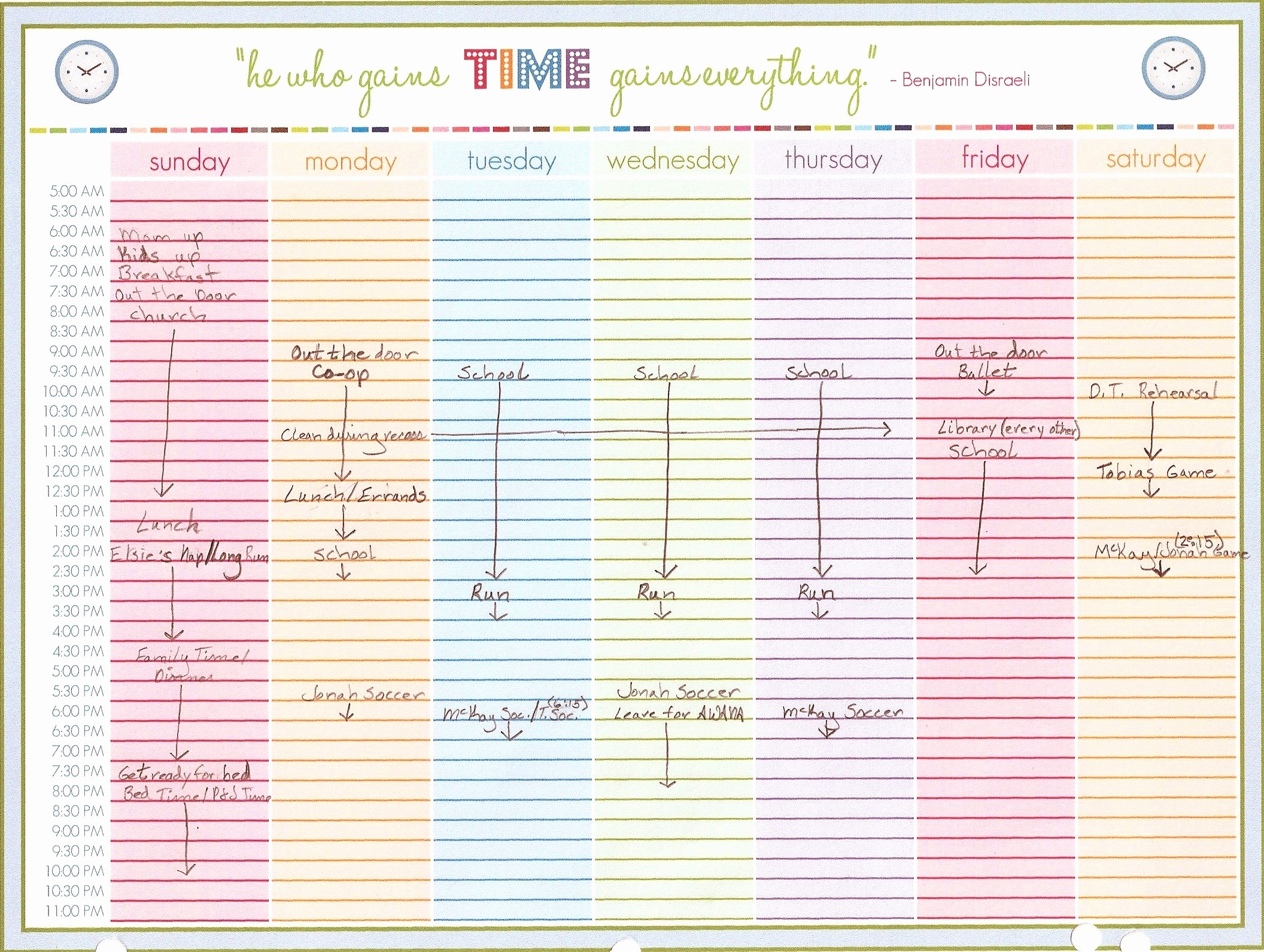 Printable Weekly Calendars with Times Unique Weekly Calendar with Time Slots Template