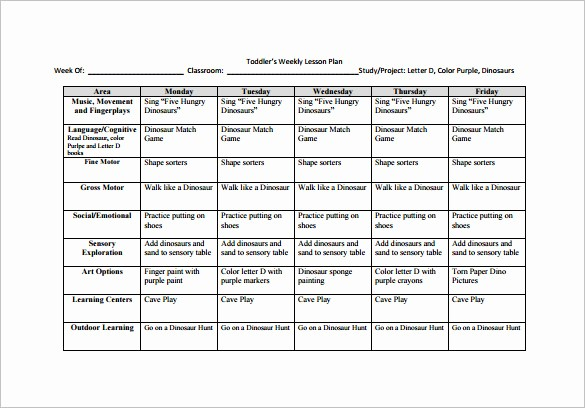 Printable Weekly Lesson Plan Templates Best Of 8 toddler Lesson Plan Templates Pdf Word Excel