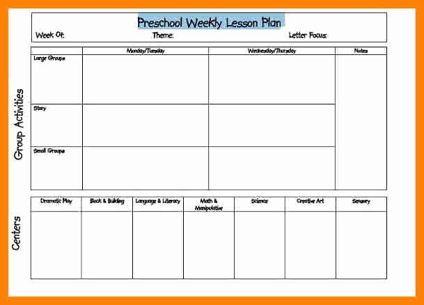 Printable Weekly Lesson Plan Templates Best Of Weekly Lesson Plan for Preschool