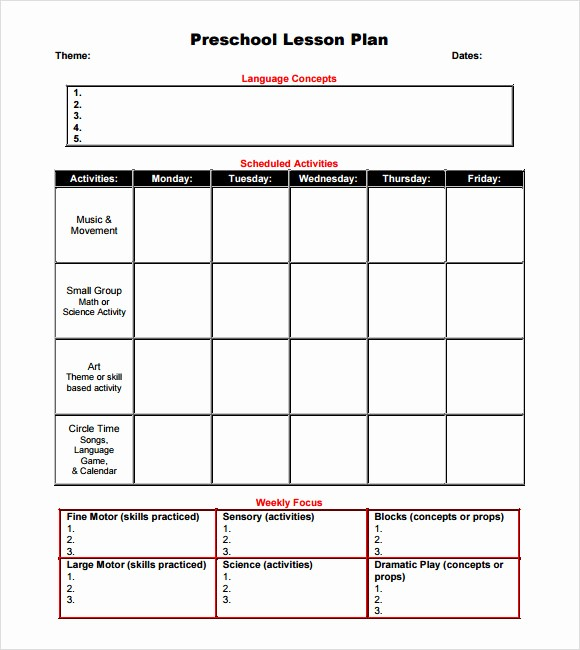 Printable Weekly Lesson Plan Templates Elegant 10 Sample Preschool Lesson Plans
