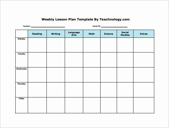 Printable Weekly Lesson Plan Templates Elegant Weekly Lesson Plan Template 9 Free Sample Example