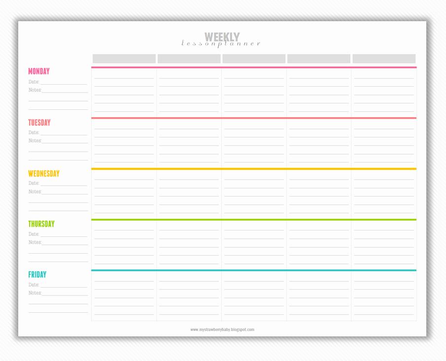 Printable Weekly Lesson Plan Templates Fresh My Strawberry Baby Free Printable Weekly Lesson Plan