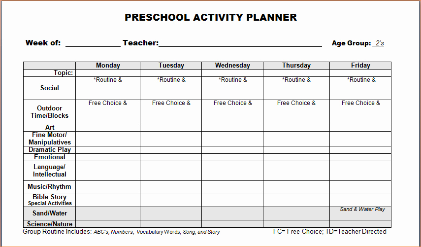 Printable Weekly Lesson Plan Templates Lovely 4 Preschool Weekly Lesson Plan Templatereport Template