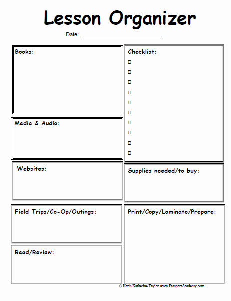 Printable Weekly Lesson Plan Templates New 6 Best Of Printable Homeschool Lesson Plan Template