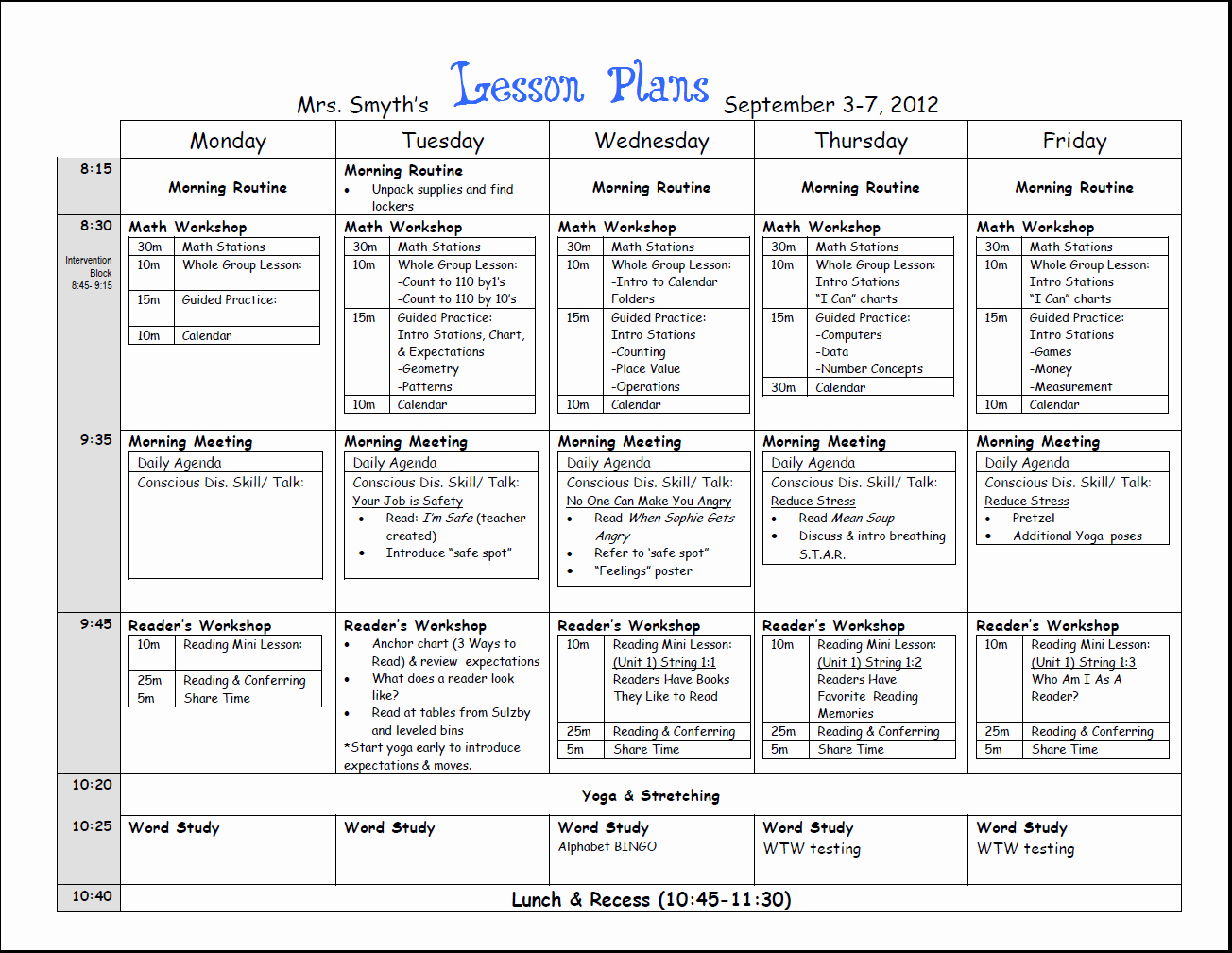 weekly lesson plan template 2