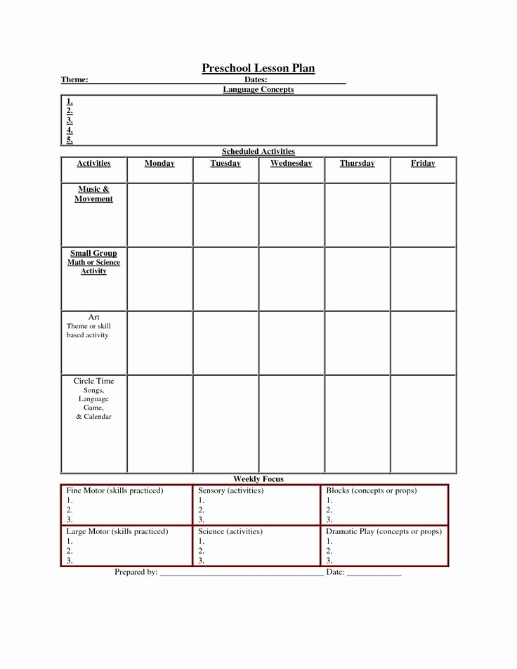 Printable Weekly Lesson Plan Templates New Printable Lesson Plan Template Nuttin but Preschool