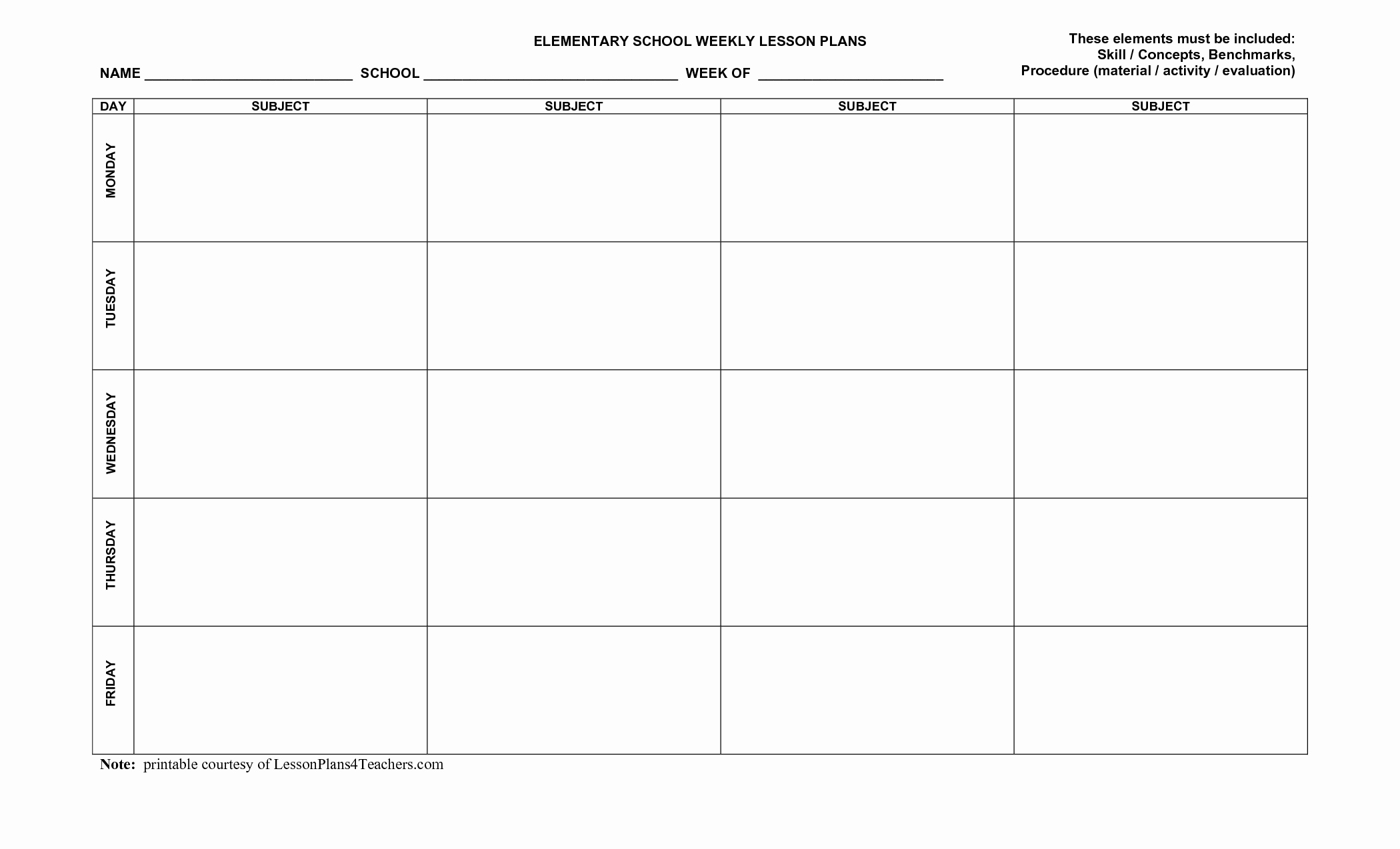 Printable Weekly Lesson Plan Templates Unique Free Printable Lesson Plans Template