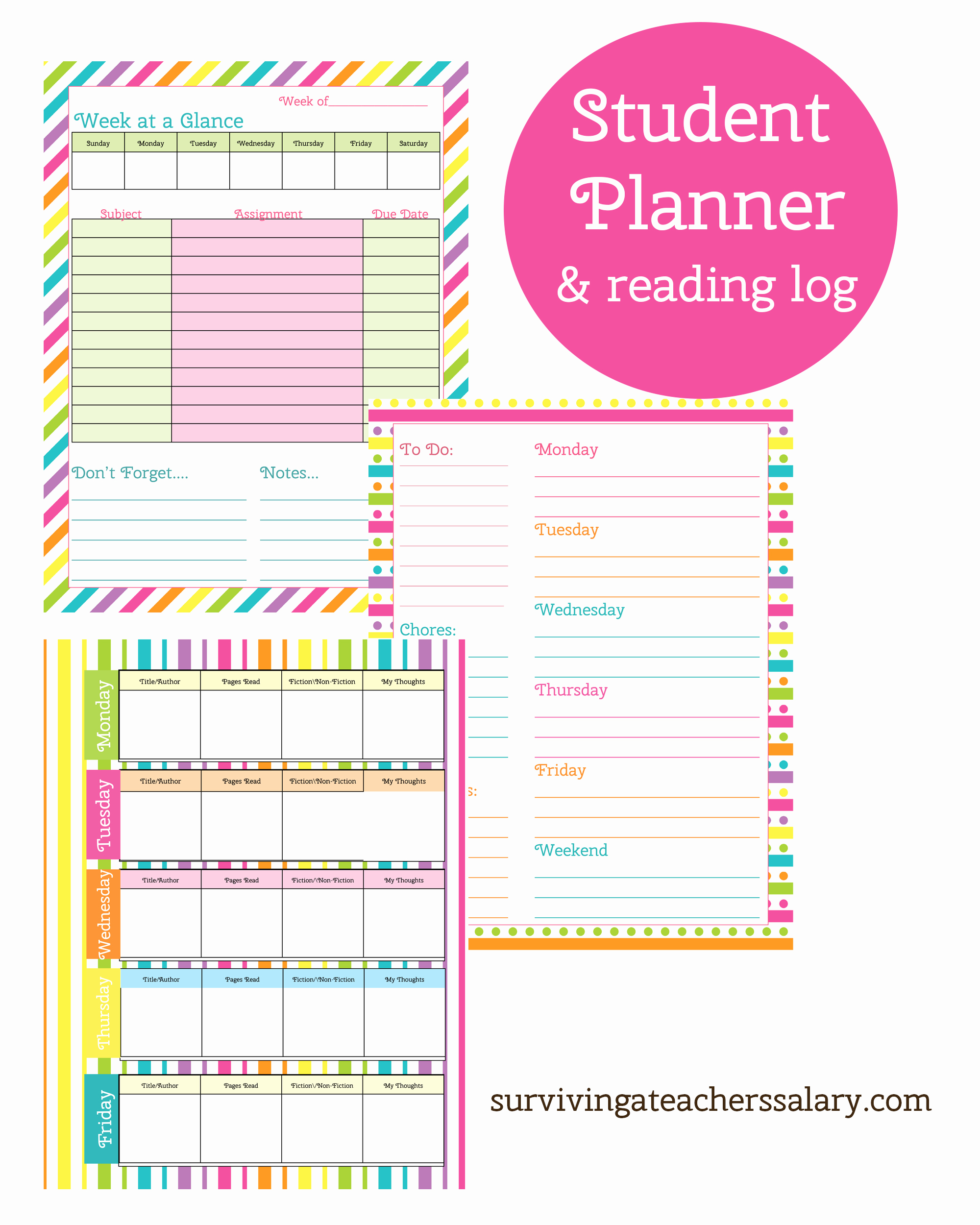 Printable Weekly Planner for Students Awesome Printable Student Planner and Reading Log