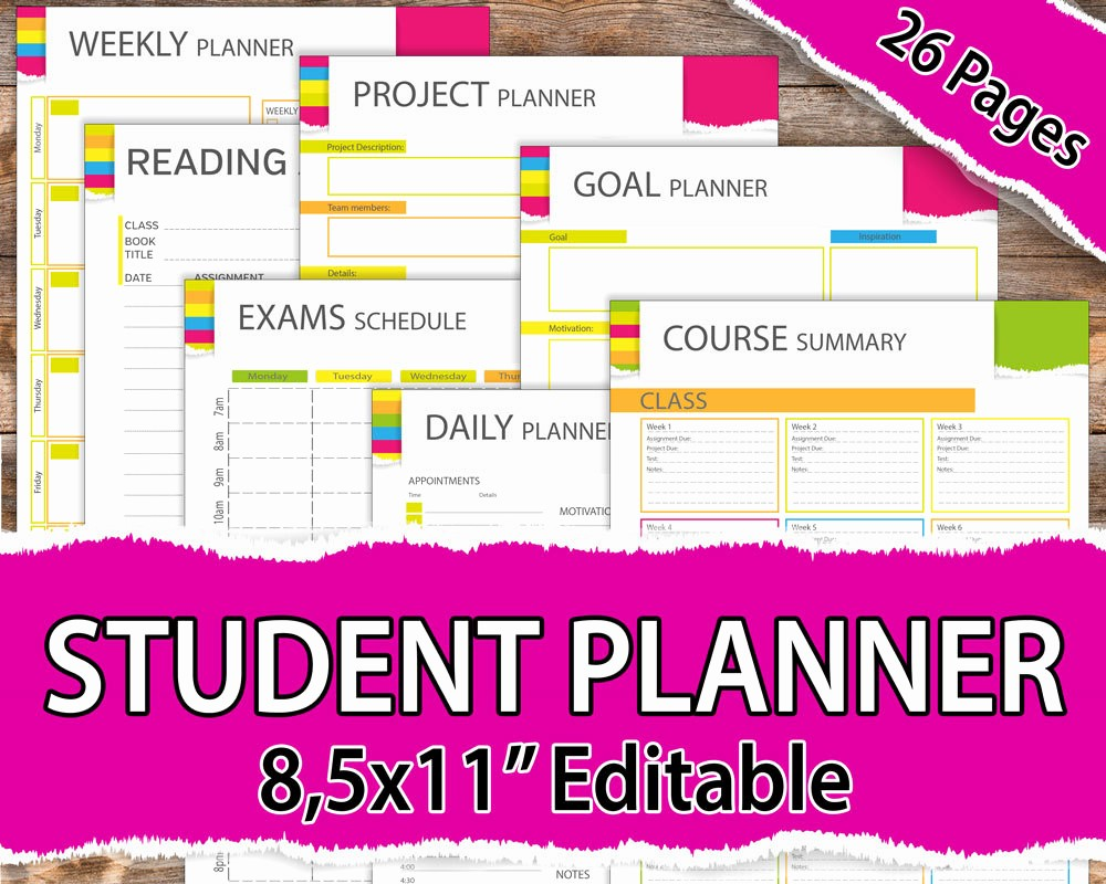 Printable Weekly Planner for Students Beautiful College Student Planner 2017 2018 Student Planner 2017 2018