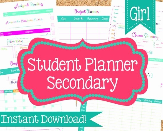 Printable Weekly Planner for Students Beautiful Instant Download Student Planner for Girls Student