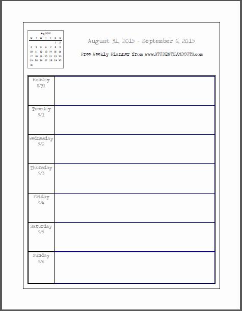 Printable Weekly Planner for Students Elegant Free Blank Printable Weekly School Planner