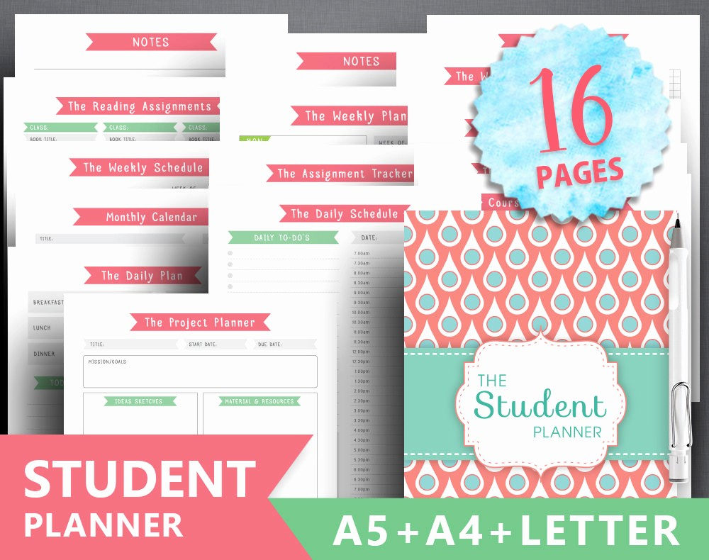 Printable Weekly Planner for Students Fresh College Planner Printable Student Planner Letter