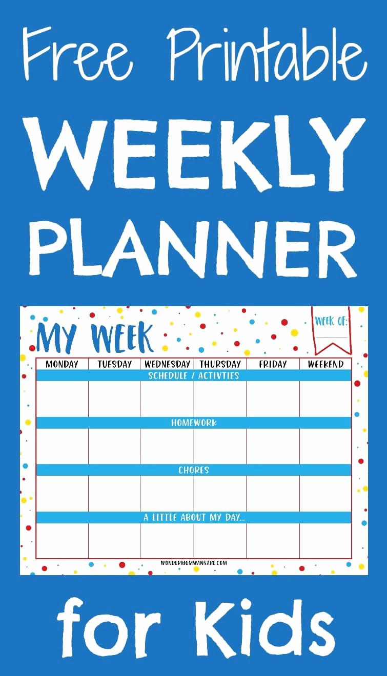 Printable Weekly Planner for Students Fresh Weekly Planner Printable for Kids