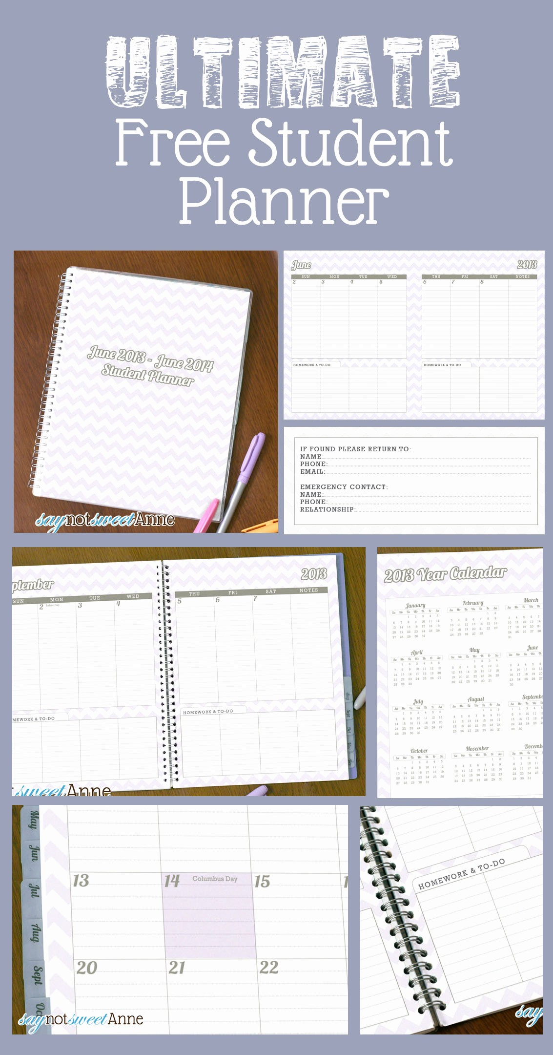Printable Weekly Planner for Students Inspirational June to June Student Planner [2013 School Year] Sweet