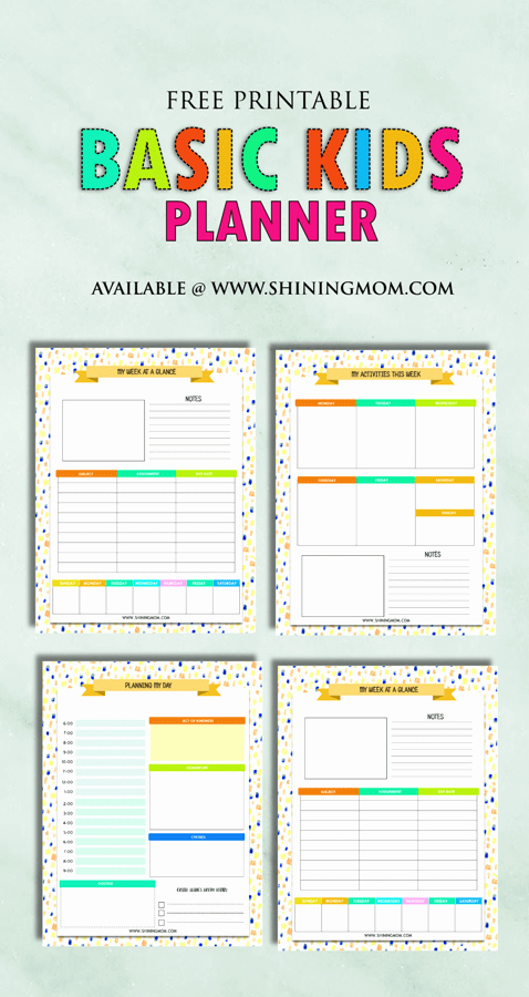 Printable Weekly Planner for Students Lovely Free Printable Kids Planner Cute and Colorful