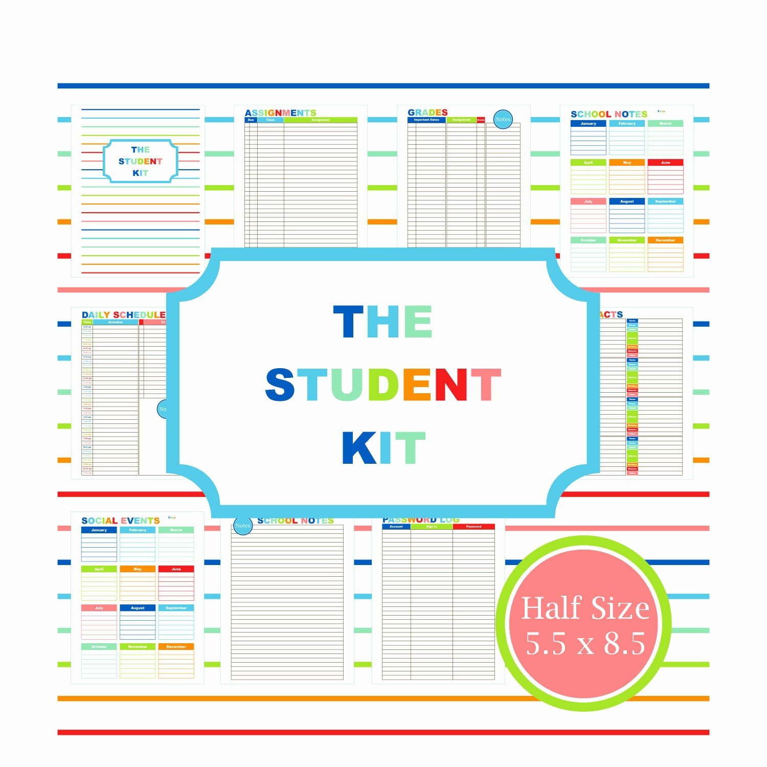 Printable Weekly Planner for Students Lovely Student Planner Printable Planner Student College Student