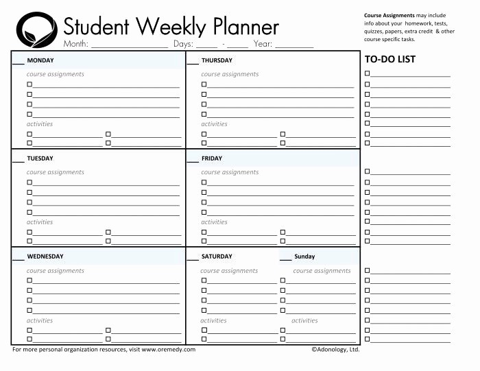 Printable Weekly Planner for Students Luxury Day Planner Printable