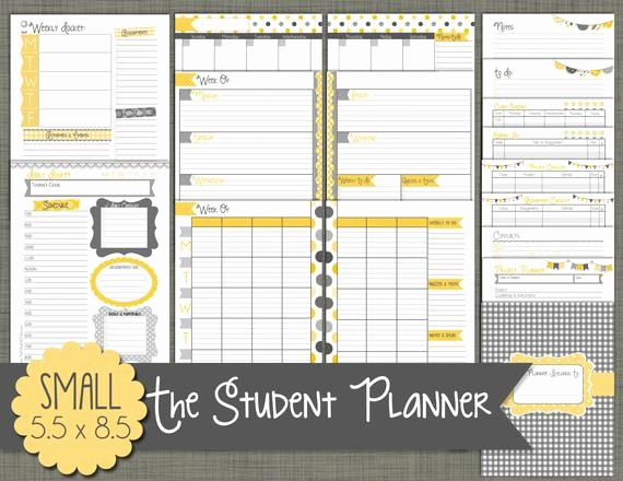 Printable Weekly Planner for Students Luxury Student Planner Printable Set Sized Small 5 5 X