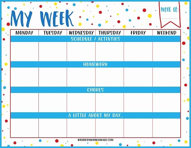 Printable Weekly Planner for Students Luxury Weekly Planner Printable for Kids