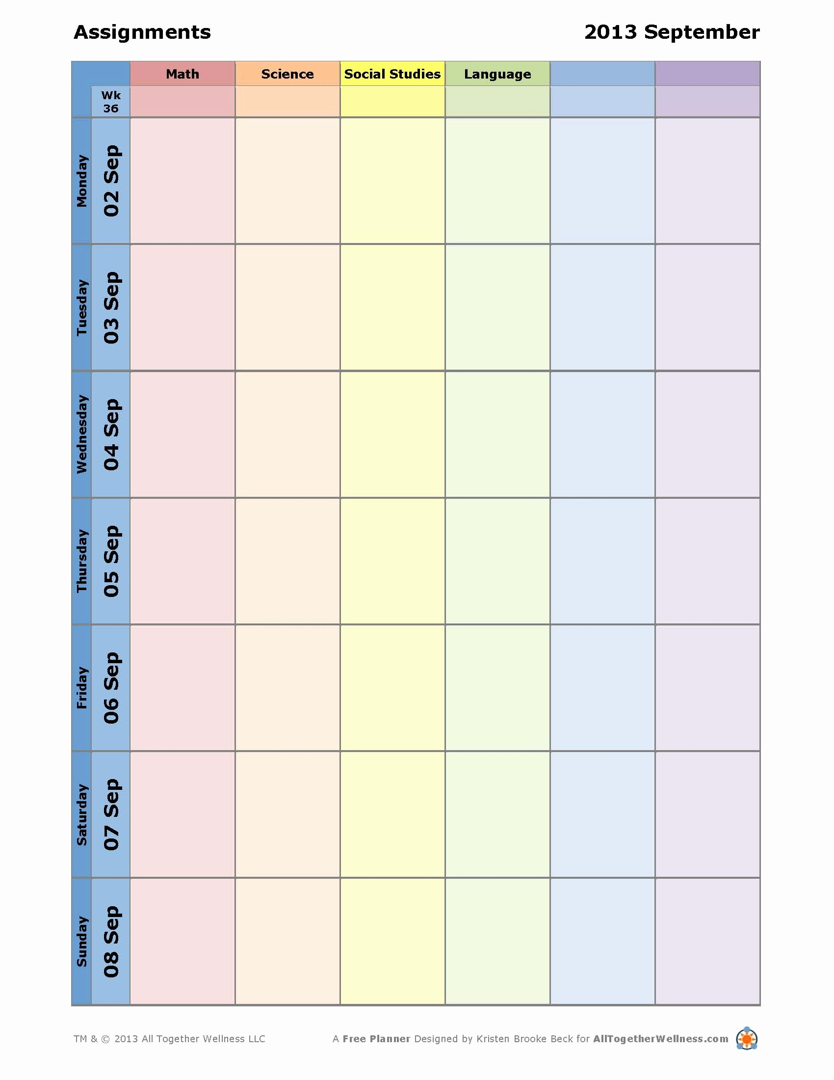 Printable Weekly Planner for Students New 7 Best Of Student Planner Template Printable