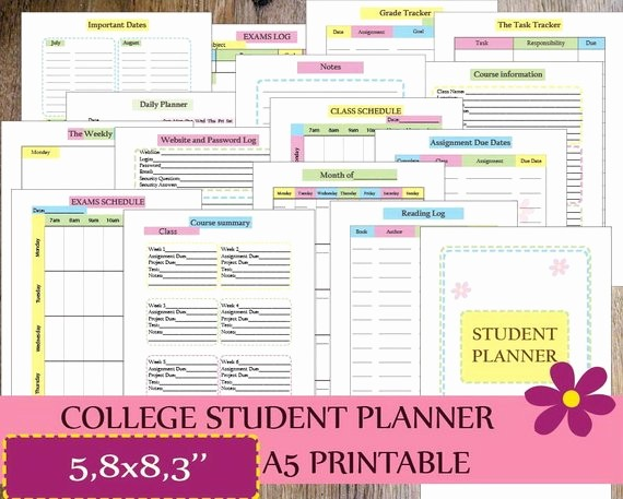 Printable Weekly Planner for Students New College Student Planner 2018 Planner Printable A5 Filofax