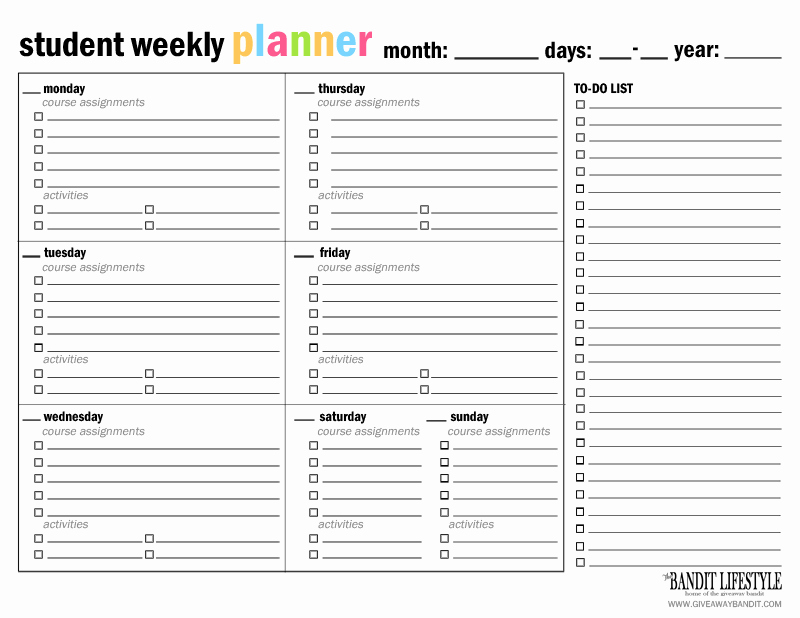 Printable Weekly Planner for Students New Printable Student Planner Binder the Bandit Lifestyle