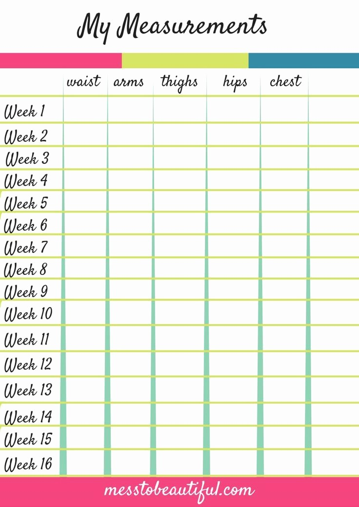 Printable Weight Loss Measurement Chart Elegant 1000 Ideas About Workout Binder On Pinterest