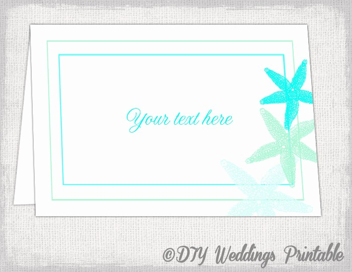 Printing Tent Cards In Word Awesome Beach Table Card Template Starfish Printable