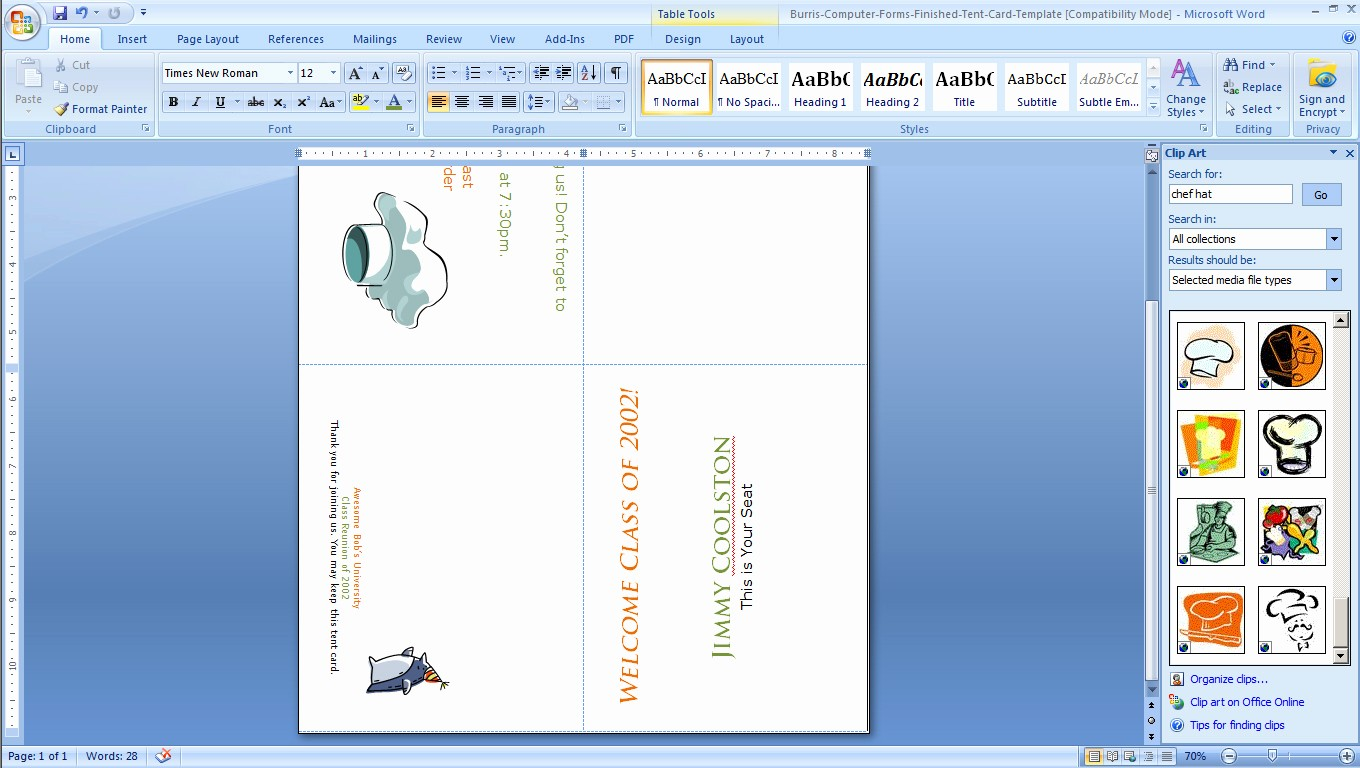 Printing Tent Cards In Word Beautiful How to Print Your Own Tent Cards In Microsoft Word
