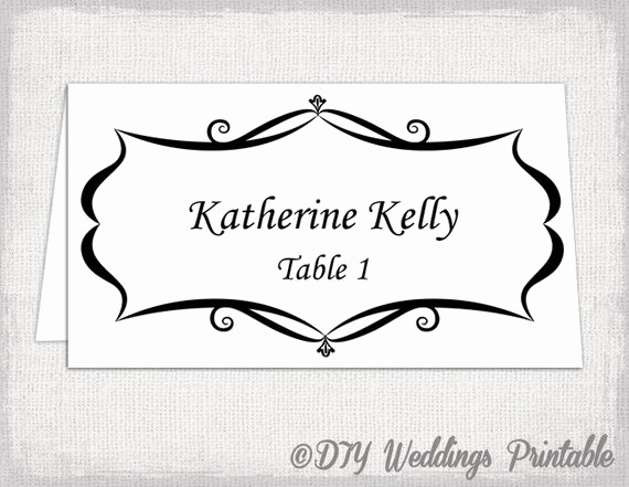Printing Tent Cards In Word Lovely Place Card Template Tent and Flat Name by Diyweddingsprintable