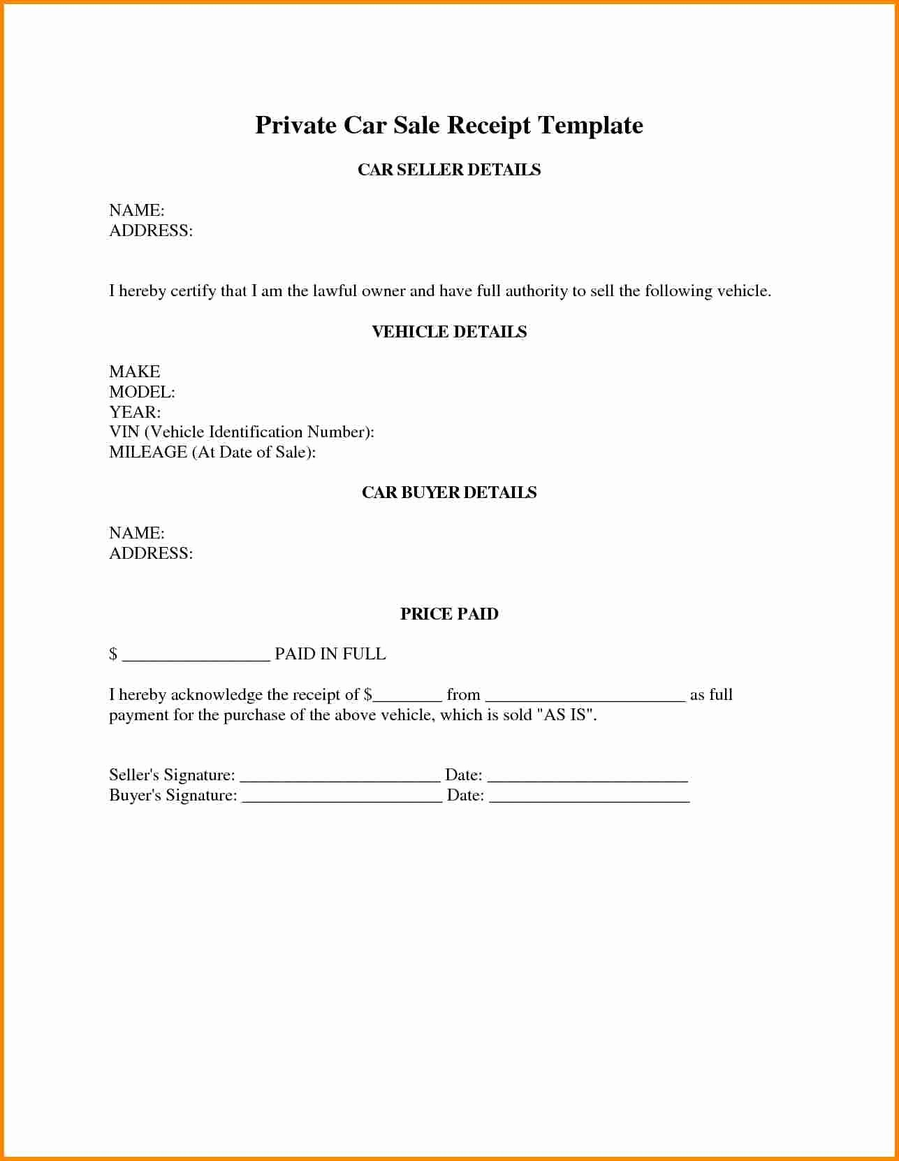 Private Car Sale Receipt Template Awesome Used Car Sales Receipt Templatehicle Sales Invoice