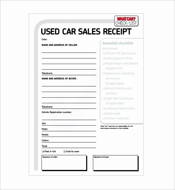 Private Car Sale Receipt Template Fresh 13 Car Sale Receipt Templates Doc Pdf