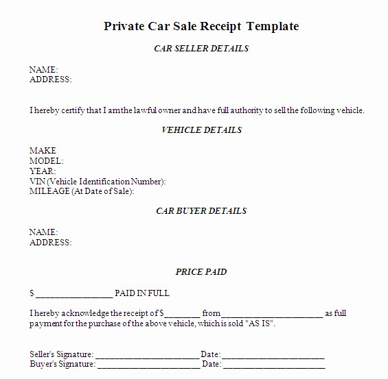 Private Car Sale Receipt Template New Car Sales Receipt Car Sale Receipt Template Australia Images