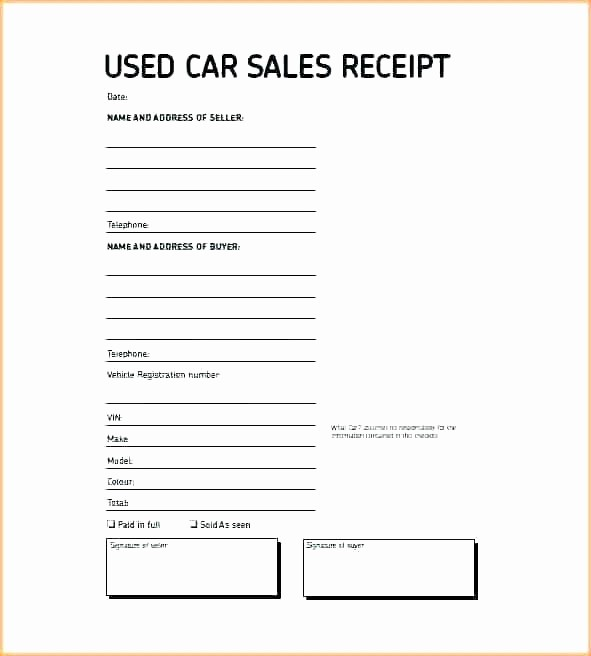Private Car Sale Receipt Template New Private Car Sales Receipt Template Car Receipt Template