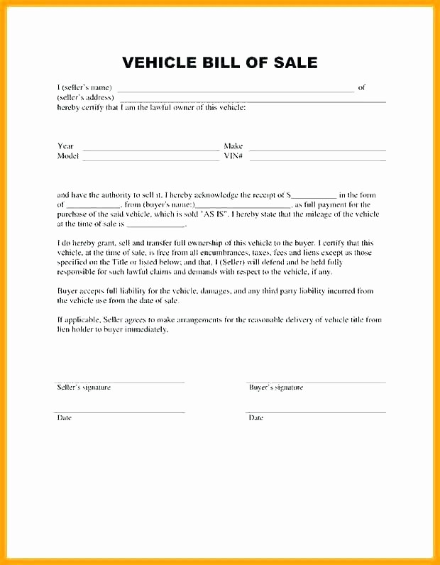 Private Car Sale Receipt Template New Private Vehicle Bill Of Sale Template – Flybymedia