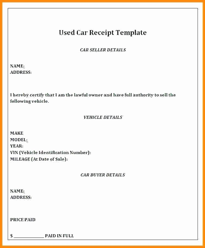 Private Car Sales Receipt Template Beautiful Private Car Sale Receipt Automobile Receipt Template