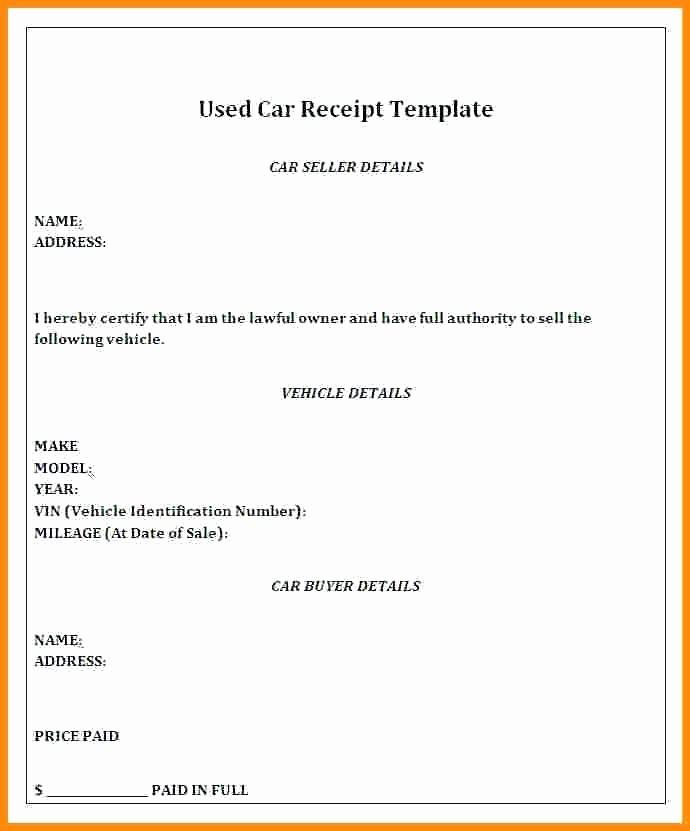 Private Car Sales Receipt Template Beautiful Private Car Sale Receipt Automobile Receipt Template