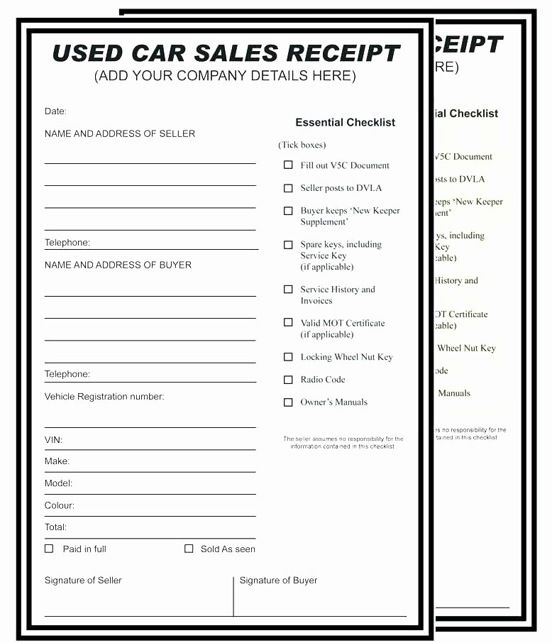 Private Car Sales Receipt Template Beautiful Private Car Sale Receipt Car Sale Receipt form Car Sale