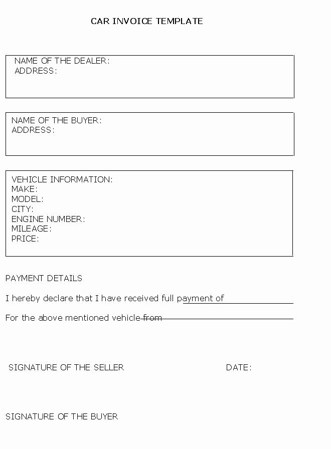 Private Car Sales Receipt Template Fresh Car Sales Invoice Template Free Invoice