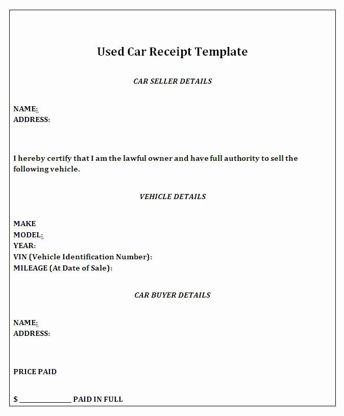 Private Car Sales Receipt Template Luxury Private Car Sale Receipt Template Free