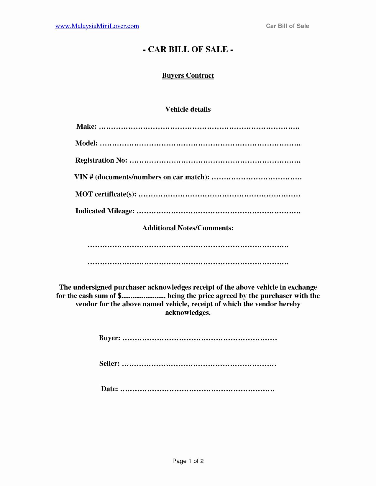 post private bill of sale template