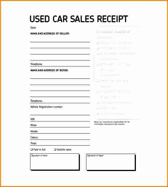 Private Party Car Sales Receipt Elegant 7 Receipt for Used Car Private Sale