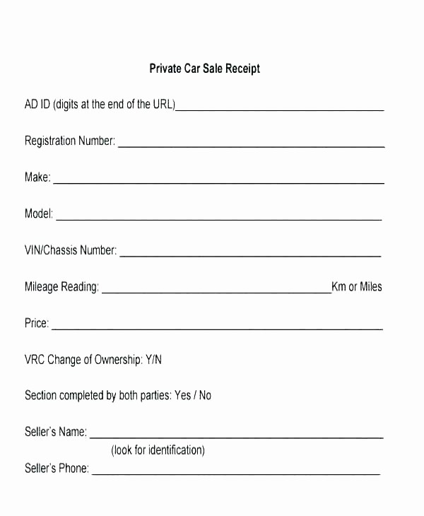 Private Party Car Sales Receipt Elegant Private Car Sale Contract Template Awesome Selling Car
