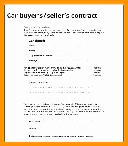 Private Party Car Sales Receipt Inspirational Private Car Sale Contract Template Private Car Sale