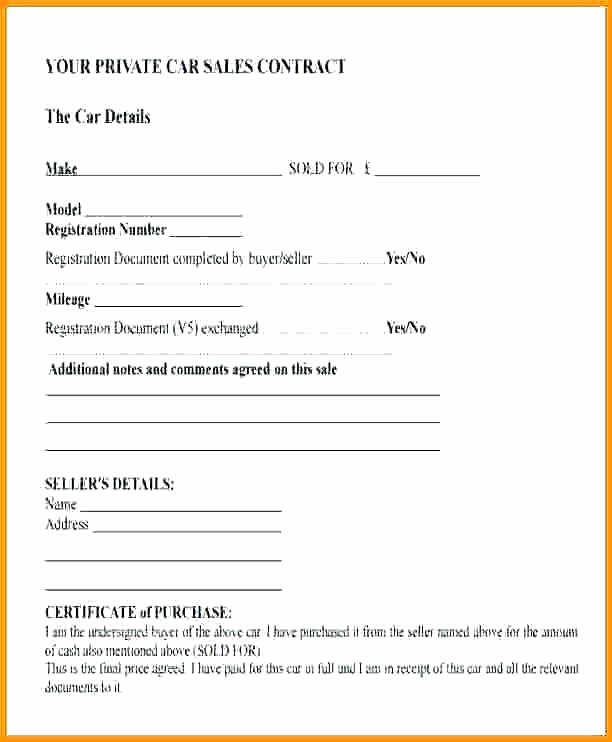 Private Party Car Sales Receipt New Private Vehicle Sale Contract – Template Gbooks