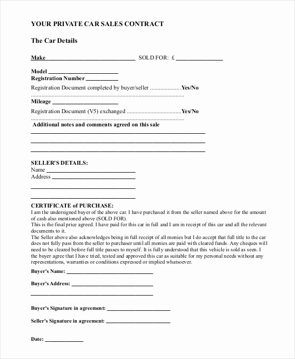 Private Party Car Sales Receipt New Sample Car Sale Contract forms 8 Free Documents In Pdf Doc