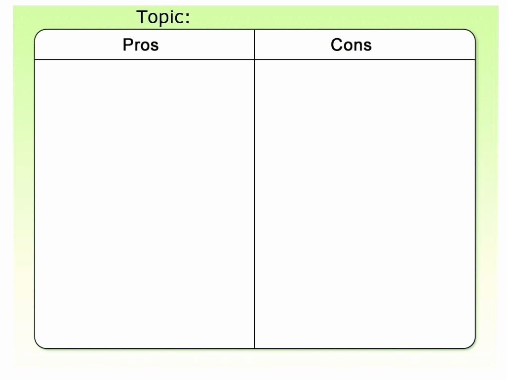 Pro and Con List Template Elegant Pros Cons Worksheet