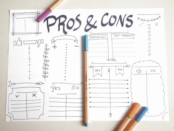 Pro and Con List Template Inspirational Pros & Cons List Journal Make Decisions Planner Printable