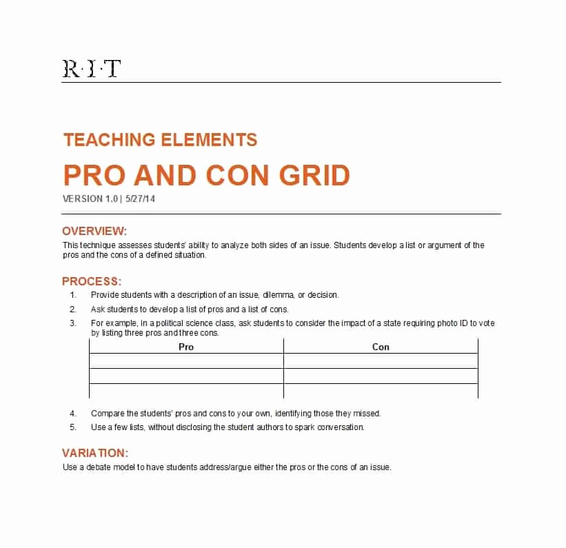 Pro and Con List Template Luxury 27 Printable Pros and Cons Lists Charts Templates