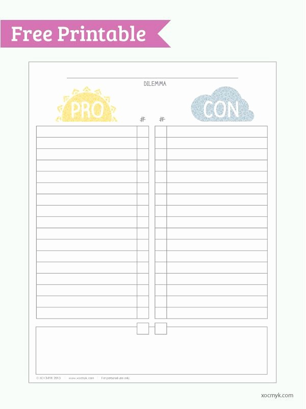 Pro and Con List Template Luxury Pro Vs Con Free Printable Pdf
